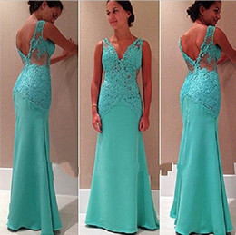 Wholesale Turquoise Open Back Prom Dress - Sexy Mermaid Lace V-Neck Prom Gowns Sleeveless Open-Back Party Dresses 2017 New Turquoise Lace Red Carpet Gowns Formal Evening Wear