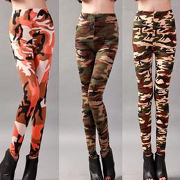 Wholesale Milk Silk Leggings - Camouflage Printed High Elastic Milk Silk Leggings Skinny Pants Elastic Pencil Pants For Women