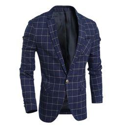 Wholesale Clothing Design Business - Wholesale- Men Blazer Jacket Designs Plaids Pattern One Button Jacket Suit Clothing for Male Business Coats Outerwear Free Shipping