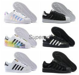 Wholesale Star Shoe Laces - 2016 Originals Superstar White Hologram Iridescent Junior Superstars 80s Pride Sneakers Super Star Women Men Sport Running Shoes 36-45