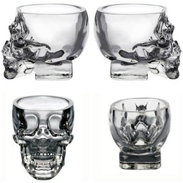 Wholesale Clear Mugs Wholesale - New Drinkware Crystal Skull shape Wine Glasses Drinking Cup 75ML Skeleton Glass Vaccum Beer Glass Mugs IB251