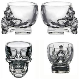Wholesale Skeleton Glasses - New Drinkware Crystal Skull shape Wine Glasses Drinking Cup 75ML Skeleton Glass Vaccum Beer Glass Mugs IB251