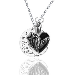 Wholesale Moms Bags - Stainless Steel Pendant DIY Mom Bow Heart Urn Necklace Cremation Jewelry with Gift Bag and Funnel