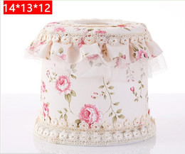 Wholesale Paper Lace Roll - Wholesale- European pastoral lace fabric towel box Paper Rack Car Home circular Shaped Tissue Box Container Towel Napkin Tissue Holder