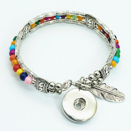 Wholesale Glass Bead Charm Bracelets - New Ab0059 Colorful Silver  Glass Beads Feather Part Snap Bracelet Fit 18mm Snap Buttons Snap Jewelry