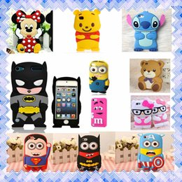 Wholesale 3d Black Batman Case - iPhone 7 3D Cartoon Case Cover Micky Minie Batman Soft Silicone Mobile Cover for iphone 5 5s SE 6 6S Plus Samsung Note7