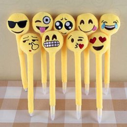 Wholesale Cheap Christmas Toys For Kids - Emoji Ballpoint Pens for Children Kids Cute Plush Toy QQ Expression Pen Office School Boys Girls Cartoon Pen Cheap Christmas Gift