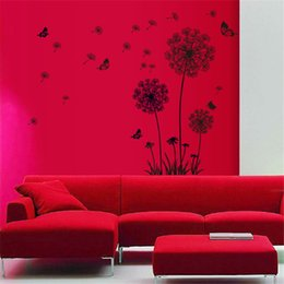 Wholesale Sports Backdrops - DIY flying dandelion flower butterfly Wall Stickers Living Room Bedroom Wall Art Home decor decals Backdrop mural Factory Wholesale