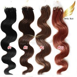 "Wholesale Light Brown Wavy Hair Extensions - Micro Ring Indian Hair Extensions 20"",#1,#2,#4,#33,1g strand, 100g set, Body Wave Wavy Bellahair DHL Shipping"