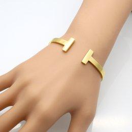 Wholesale T Cuff - 2017 luxury Fashion New Stainless Steel double T love Bracelet jewelry Cuff 18k Rose Gold plate Bangles Bracelets For Women Love Bracelet