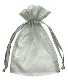 Wholesale Drawstring Gift Favor Bag - Gray Organza Jewelry Gift Pouch Bags 100 Pcs 9X12cm ( 3.5 x 4.7 inch) Drawstring Bag Organza Gift Candy Bags