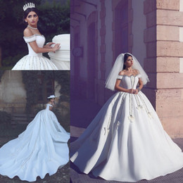 Wholesale Arabic Luxury Dresses - Arabic Luxury Wedding Dresses For Bride Off Shoulder Beading Appliques Ball Gown Wedding Gowns With Long Train Lace Up Back Bridal Dress