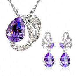 Wholesale Pink Butterfly Necklace Sets - Corea new high-grade fashion jewelry wholesale Korea Austrian crystal graceful butterfly necklace earrings jewelry sets-B101