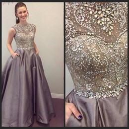 Wholesale dress handwork - Sparkling Beading Handwork Satin Silver Gray Prom Dresses 2016 Sleeveless Long Diamond Sequined Formal Evening Gowns Vestidos Formatura