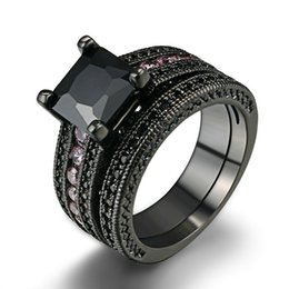 Wholesale Ring Pink Cocktail - Black Gold Plated Wedding Ring Set Pink Round Black Crystal Luxury Ring Set Fashion Cocktail Party Rings CZ Diamond Jewelry For Women