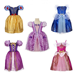 Wholesale Embroidered Strapless Dresses - Baby Girls Dress Kids Ball Gown Lace Princess Dress Bow Bubble Skirt Strapless Pleated Flower Bud Dresses Holiday Party Evening Clothes
