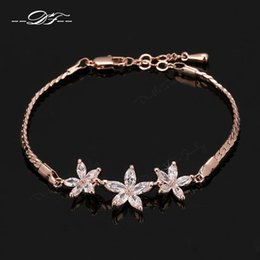 Wholesale Unique Jewelry Sets - Unique Chic Colorful Flower Cubic Zirconia Rhinestone Chain Bracelets & Bangles 18K Gold Plated Jewelry For Women Crystal Wholesale DFH023