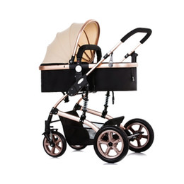 Wholesale Lightweight Prams Strollers - Foldable Pram Baby Stroller With Explosion-Proof Rear Wheel Lightweight Aluminum Alloy Luxury Baby Stroller For Newborn Infant +B