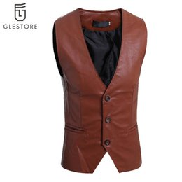 Wholesale Men S Leather Vests - Fall-Punk Style New Design Men'S Leather Vest Fashion Faux Leather Sleeveless Jacket Winter Men Leather Waistcoat Outdoor