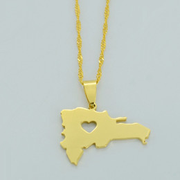 Wholesale map middle - The Dominican Republic Map Pendant Necklace for Women Men 18K Yellow Gold Plated Jewelry Map of Dominican Necklaces #004305