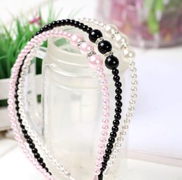 Wholesale Wholesale Girls Hair Beads - 2017 Girls Pearl Hairband Crystal Jewelry Bead Princess Headband Hair Band Accessories 3colors girls headband for women and kids