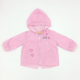 Wholesale Lovely Baby Girl Loves - Baby Clothes Girls Pink Color Lovely Outweat Love Embroider With Hat Cute Infant Girls Tench Coats