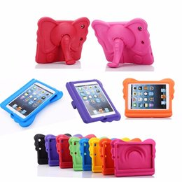 Wholesale Kids Ipad Tablet - 3D Cute Elephant Children EVA Case Kids Thick Foam Shock Proof Soft Handle Stand Case Tablet Covers For iPad Air 1  iPad 5 Case