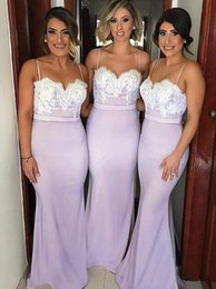 Wholesale Spaghetti Chiffon Prom Dresses - 2017 Newest Plus Size Lavender Lace Appliques Bridesmaid Dresses Cheap Spaghetti Backless Mermaid Maid Of Honor Dresses Sexy Prom Dresses