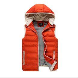 Wholesale Autumn Cashmere Sale - 2016 Hot Sale Autumn Winter Hooded Cotton Padded Men's Vests Sleeveless Jacket Man Waistcoat Male Fashion Casual Outerwear Coat