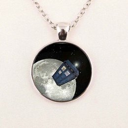 Wholesale Police Box Necklace - Wholesale art glass pendant Doctor who tardis space necklace doctor who police box jewelry glass cabochon dome pendant