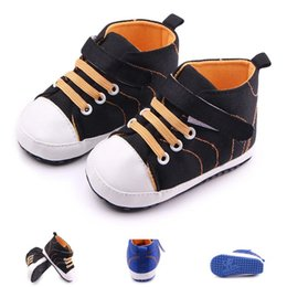 Wholesale tie cheap wholesale - New Baby Toddler Boys' Walking Shoes Cheap Canvas Sport Shoes Hook&loop Lace-up Thread Design Anti-slip Soft Sole 0-12 Months