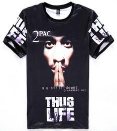 Wholesale Tshirt America - tshirt America Hip hop t-shirt men's 3d tshirt print Tupac 2pac THUG LIFE t shirt casual tops Young tees H11