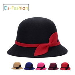 Wholesale fitting dresses for women - Elegant Fedoras Kentucky Derby Hat With Bow For Women Popular Dress Black Pink Red Church Hats Ladies Formal Wedding Honey Bucket Cap Sale