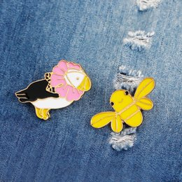Wholesale Denim Shirts For Girls - Enamel Pins Cute Parrot Bee Birds with Flower Brooch Denim Jacket Pin Buckle Shirt Badge Animal Jewelry Gift for Kids Girls