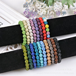 Wholesale Steel Ball Stretching - DHL Free Shipping Bling Neon Shamballa Bracelet Fluorescence Color Beads Disco Ball Stand Stretch Bracelets Handcraft Jewelry