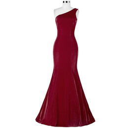 Wholesale Hot Pink Satin Robes - RObe De Soiree Vestidos De Fiesta Largos Elegantes 2016 Cheap Hot Sale Mermaid Evening Gowns One Shoulder Satin Abendkleider