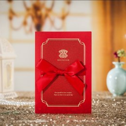 Wholesale Invitation Lace Red - WISHMADE 2017 Chinese Red Lace Invitation Wedding Cards With envelope Black Insert Paper Customized Printed CW7021