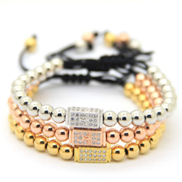 Wholesale 6mm Diamond Bead - High Grade Diamond Bracelet Wholesale 6mm Real Gold, Rose Gold, Platinum Plated CZ Beads Macrame European American Weaving Bracelets