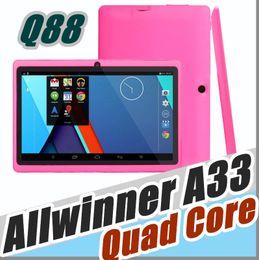 Tablet barato quad core on-line-10X barato 2017 comprimidos wi-fi de 7 polegada 512 MB de RAM de 4 GB ROM Allwinner A33 Quad núcleo Android 4.4 Tablet PC Capacitivo Dual Camera Q88 A-7PB