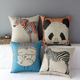 Wholesale Owl Handmade Pillow - 45cm Cartoon Panada Zebra Owl Cotton Linen Fabric Throw Pillow 18inch Handmade New Home Office Bedroom Decoration Sofa Back Cushion