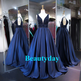 Wholesale Keyhole Top - Saiid Kobeisy Prom Dresses 2018 Evening Sexy Navy Blue Deep V Neck Arabic Dubai Formal Occasion Gowns Full Pearls Top Sexy Backless