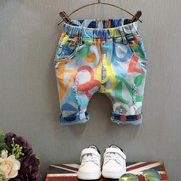 Wholesale Worn Out Jeans - Boys Fashion Personality Jeans Children Colorful Print Denim Pants Boy Kids Jeans Elastic Waist Worn-out Denim Pants Half Trousers K336