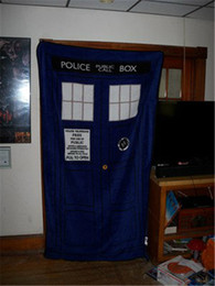 Wholesale Couch Blankets - Doctor Who Throw Blanket Bed Blanket Coral Fleece Blanket Soft Warm Plush Velvet Couch Blanket TARDIS Blankets Cosplay Carpet Blue Throw