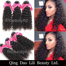 Wholesale Weaved Hair Wholesaler - Lilibeauty Brazilian Curly Virgin Hair Weft 100% Unprocessed Human Hair Weaves 3 bundles Natural Color Free Shipping