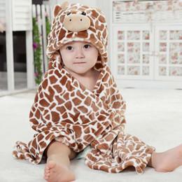 Wholesale Baby Animal Bath Towel - 9 Designs New Soft Hooded Animal Baby Bathrobe High Quality Animal Cartoon Baby Towel Character Kids Bath Robe Infant Towel 90cmx80cm