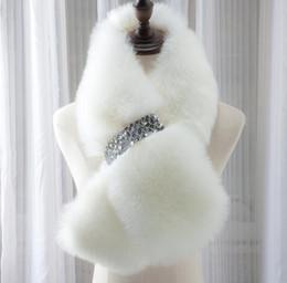 envoltórios de lenços de botão Desconto New Style Inverno quente Completa Pelt Fox Fur Scarf Collar Com Diamante Botão Wram Inverno Wraps Cachecóis cc762