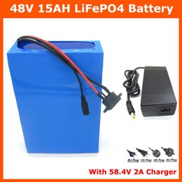 Wholesale 48v Lifepo4 Battery - Hot sale 48V 15AH LiFePO4 battery 700W 48V Electric Bike battery with PVC case 15A BMS 58.4V 2A charger Free shipping