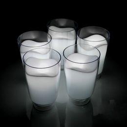 Wholesale Milk Glass Led Night Light - White Milk Glass Romantic Cup LED Lamp Night Lights Cute Table Bar Bedside Night Light Novelty Home Decor Chrismas Gift Novelty Lighting