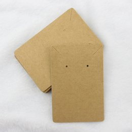 Wholesale Custom Paper Jewelry Tags - 6*9cm 100pcs lot Jewelry Display Card Price Tag Kraft Paper Earring Holder Necklace Cards Can Custom Logo