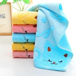 Wholesale Plain Hand Towels - Cartoon Bamboo Fiber Kids Face Bathing Shower Towel 25x50cm Musical Cat Design Children Hand Towel Strong Water Absorbing